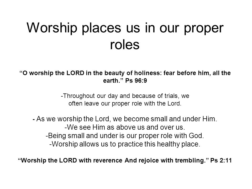 Worship places us in our proper roles O worship the LORD in the beauty of holiness: fear before him, all the earth.