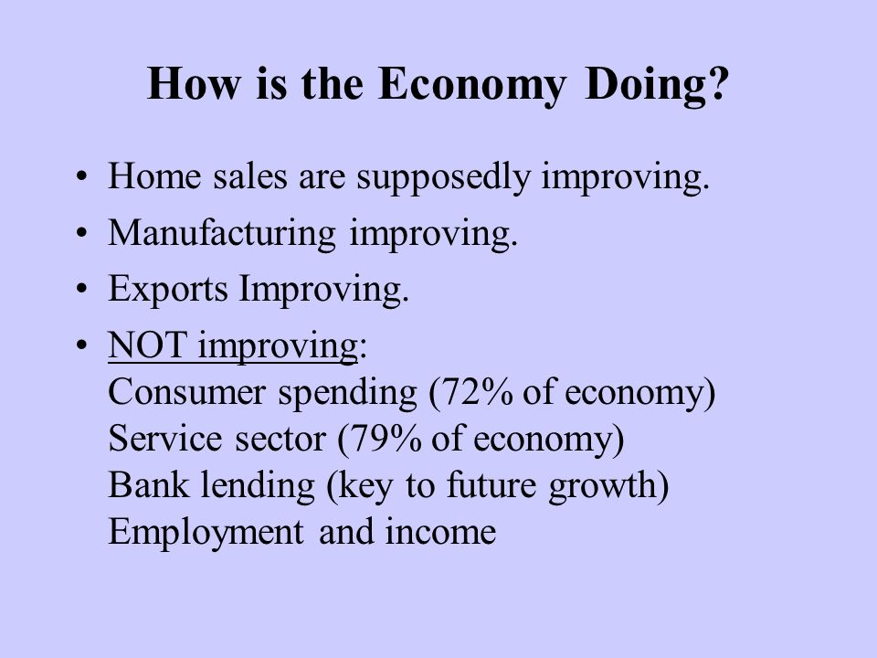 How is the Economy Doing. Home sales are supposedly improving.