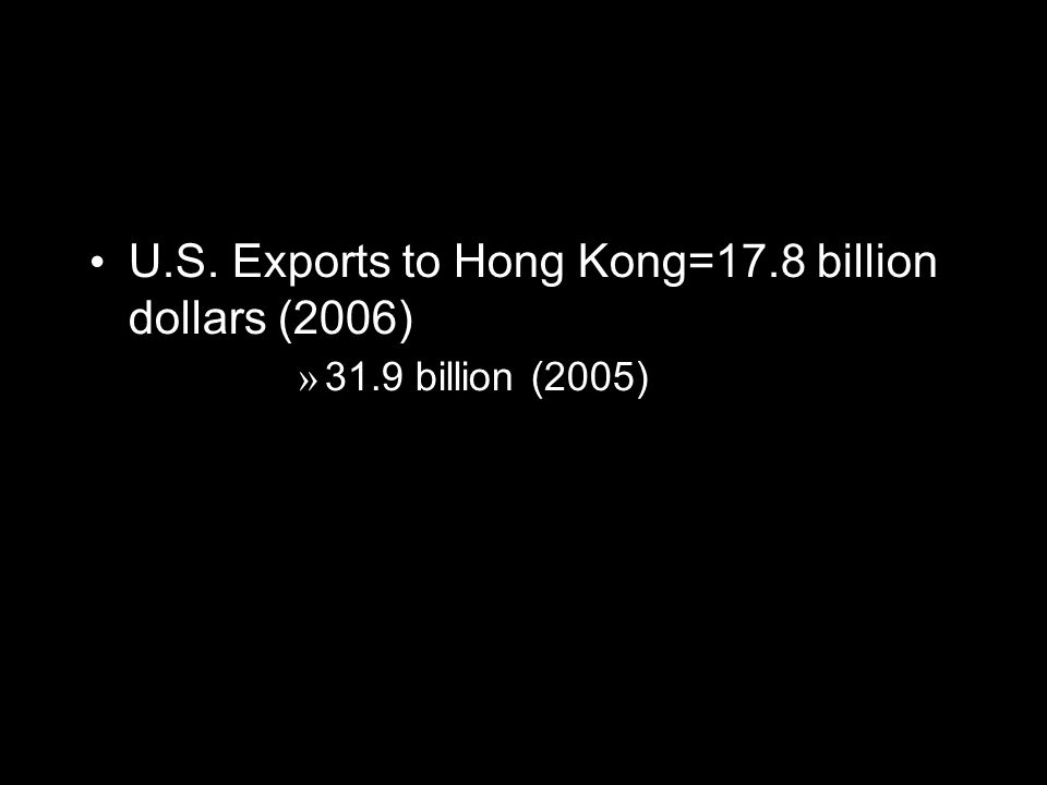 U.S. Exports to Hong Kong=17.8 billion dollars (2006) » 31.9 billion (2005)