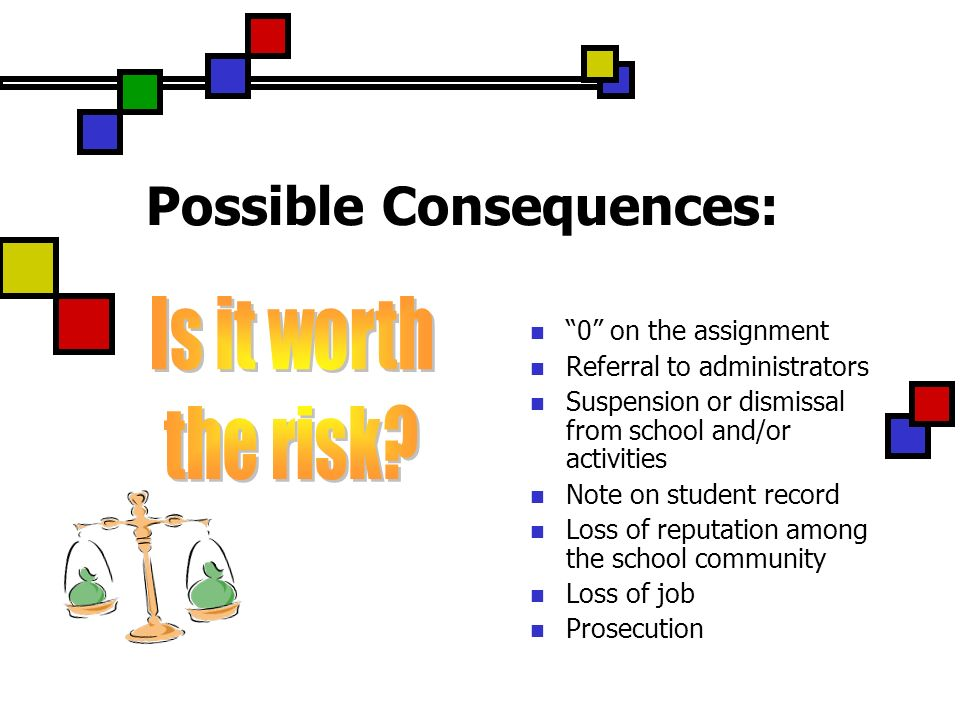 Possible Consequences: 0 on the assignment Referral to administrators Suspension or dismissal from school and/or activities Note on student record Loss of reputation among the school community Loss of job Prosecution