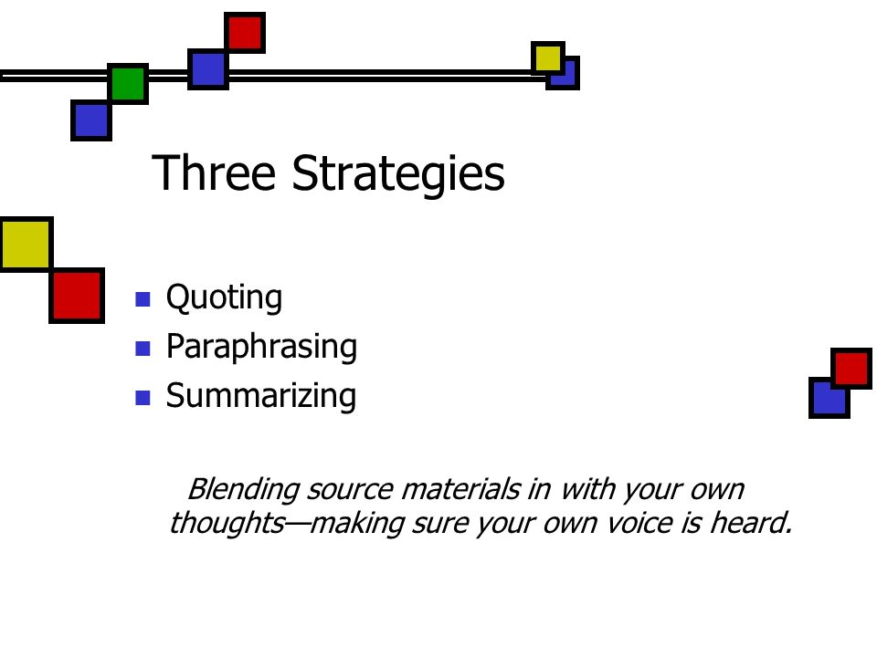 Three Strategies Quoting Paraphrasing Summarizing Blending source materials in with your own thoughtsmaking sure your own voice is heard.