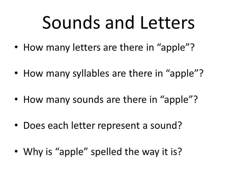 Sounds and Letters How many letters are there in apple.