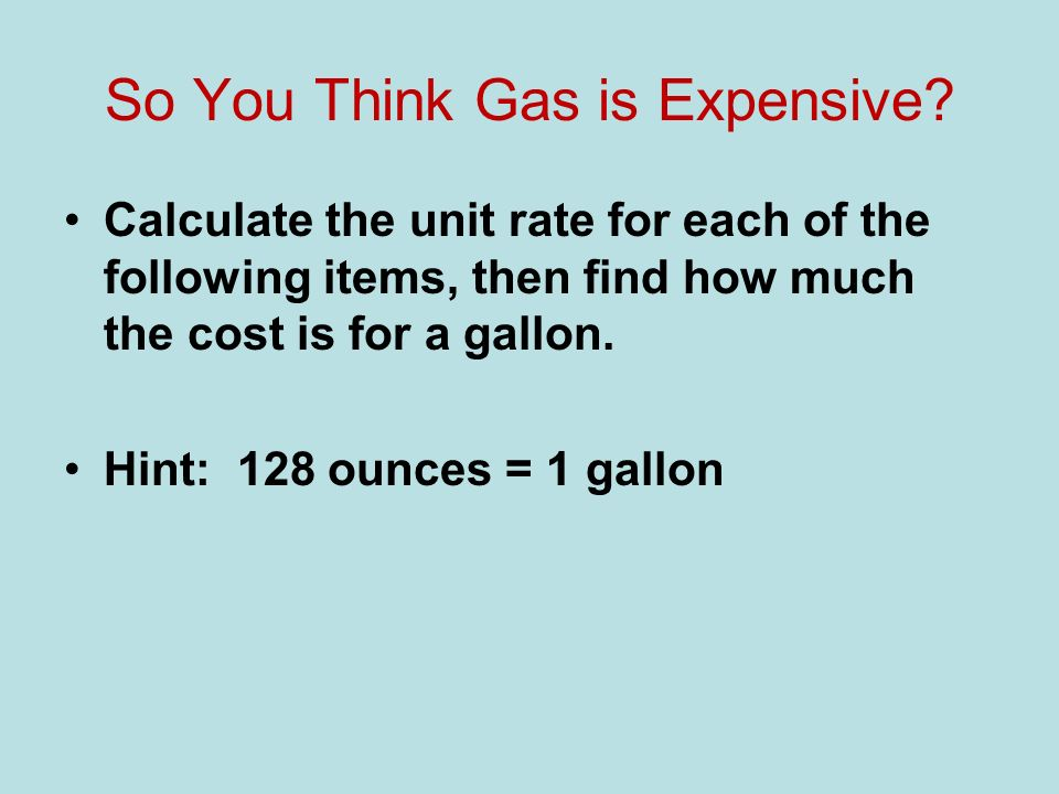 So You Think Gas is Expensive.