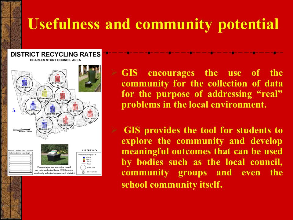 Usefulness and community potential GIS encourages the use of the community for the collection of data for the purpose of addressing real problems in the local environment.