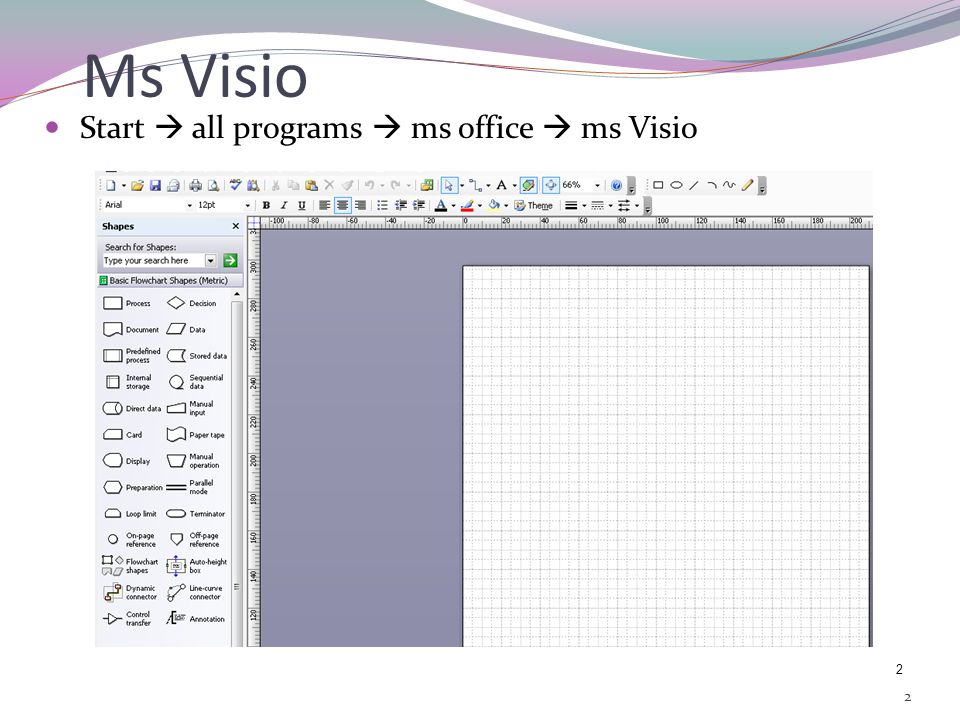 1 11 Objectives Have familiarity using Ms.Visio Have a basic concept in designing solution using flowcharts.