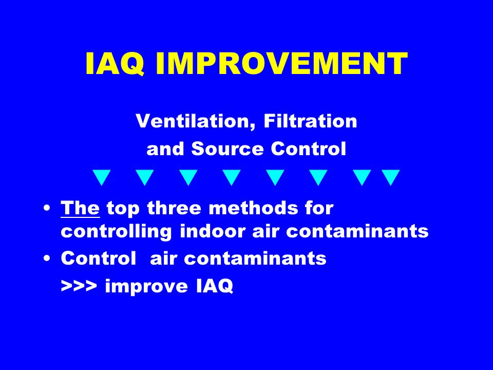 IAQ IMPROVEMENT Ventilation, Filtration and Source Control The top three methods for controlling indoor air contaminants Control air contaminants >>> improve IAQ