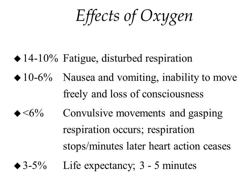 Effects of Oxygen u 14-10% Fatigue, disturbed respiration u 10-6%Nausea and vomiting, inability to move freely and loss of consciousness u <6%Convulsive movements and gasping respiration occurs; respiration stops/minutes later heart action ceases u 3-5%Life expectancy; minutes