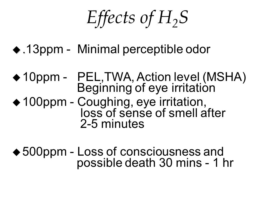 Effects of H 2 S u.
