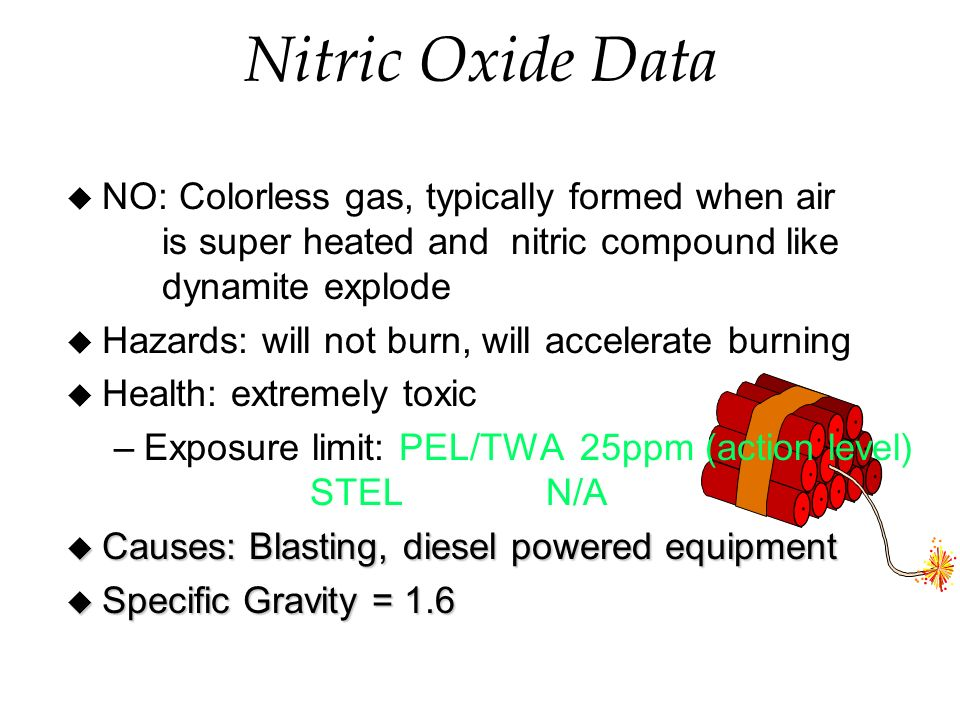 Nitric Oxide Data u NO: Colorless gas, typically formed when air is super heated and nitric compound like dynamite explode u Hazards: will not burn, will accelerate burning u Health: extremely toxic –Exposure limit: PEL/TWA 25ppm (action level) STELN/A u Causes: Blasting, diesel powered equipment u Specific Gravity = 1.6