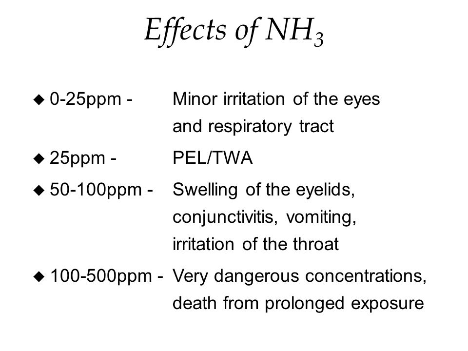 Effects of NH 3 u 0-25ppm -Minor irritation of the eyes and respiratory tract u 25ppm -PEL/TWA u ppm -Swelling of the eyelids, conjunctivitis, vomiting, irritation of the throat u ppm -Very dangerous concentrations, death from prolonged exposure