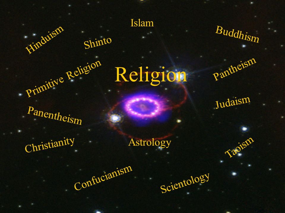 Religion Hinduism Buddhism Confucianism Taoism Islam Judaism Primitive Religion Christianity Scientology Astrology Pantheism Panentheism Shinto