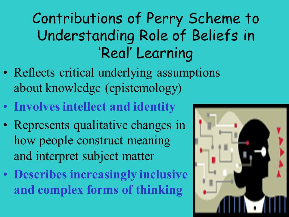 Contributions of Perry Scheme to Understanding Role of Beliefs in Real Learning Reflects critical underlying assumptions about knowledge (epistemology) Involves intellect and identity Represents qualitative changes in how people construct meaning and interpret subject matter Describes increasingly inclusive and complex forms of thinking