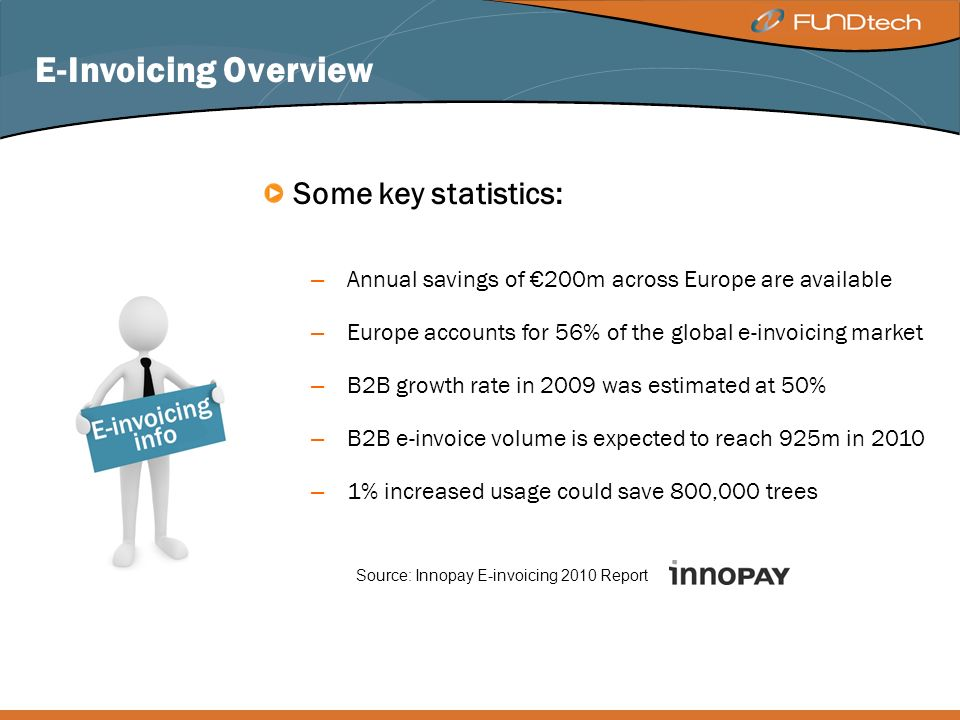 E-Invoicing Overview Some key statistics: – Annual savings of 200m across Europe are available – Europe accounts for 56% of the global e-invoicing market – B2B growth rate in 2009 was estimated at 50% – B2B e-invoice volume is expected to reach 925m in 2010 – 1% increased usage could save 800,000 trees Source: Innopay E-invoicing 2010 Report