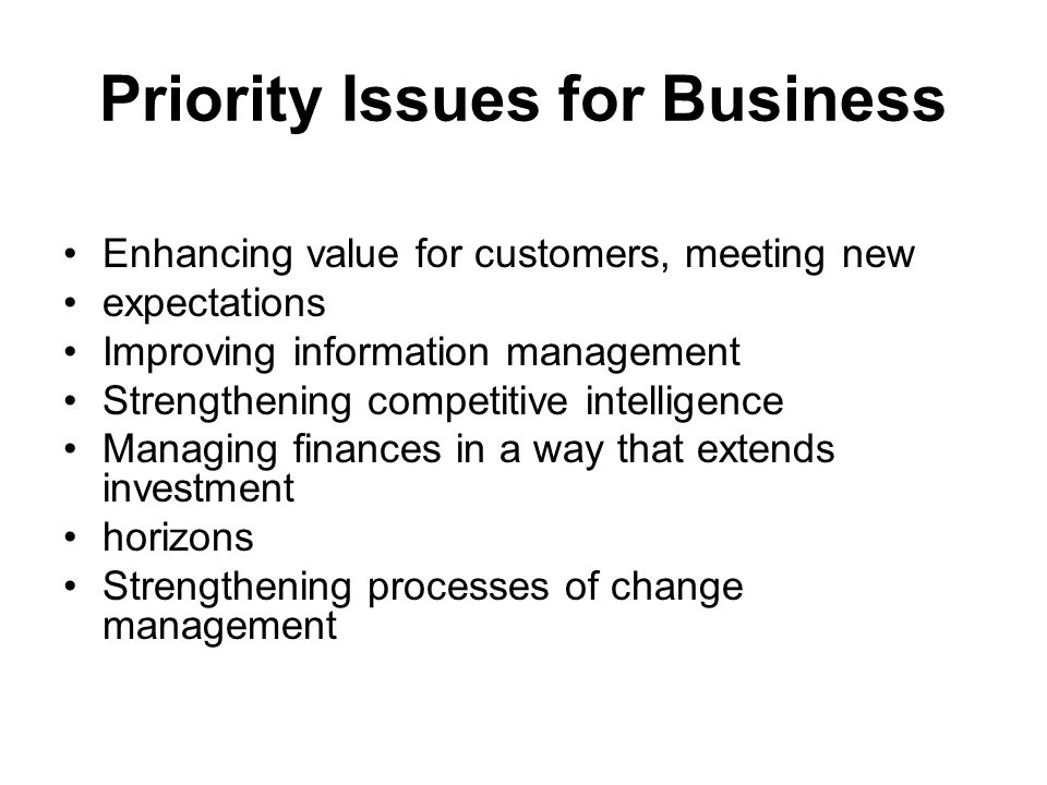 Priority Issues for Business Enhancing value for customers, meeting new expectations Improving information management Strengthening competitive intelligence Managing finances in a way that extends investment horizons Strengthening processes of change management