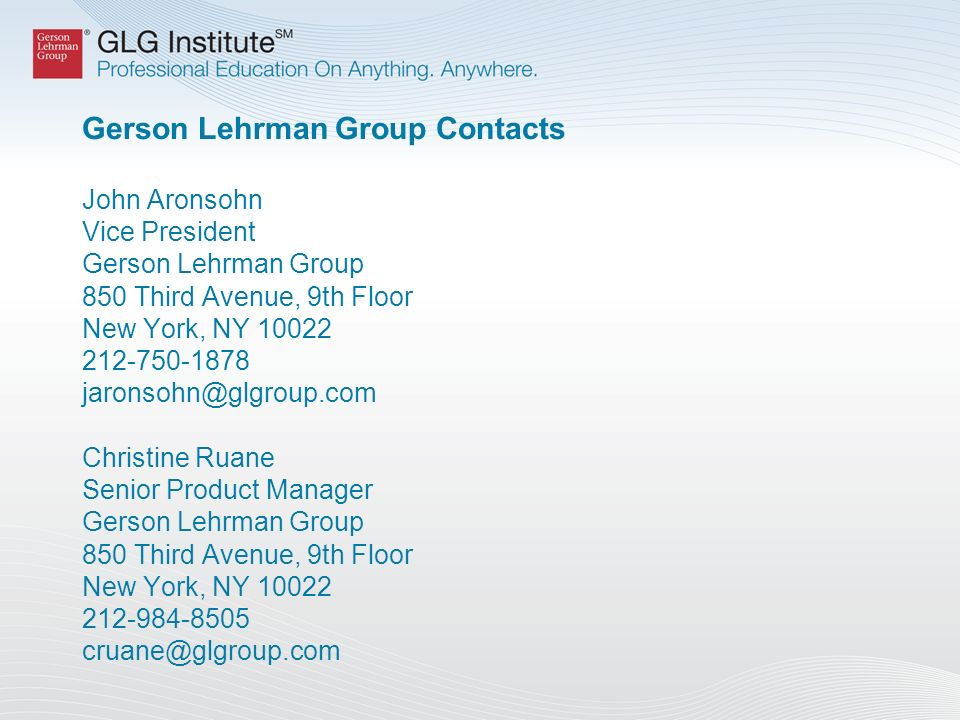 About GLG Institute GLG Institute (GLGi SM ) is a professional organization focused on educating business and investment professionals through in- person meetings.