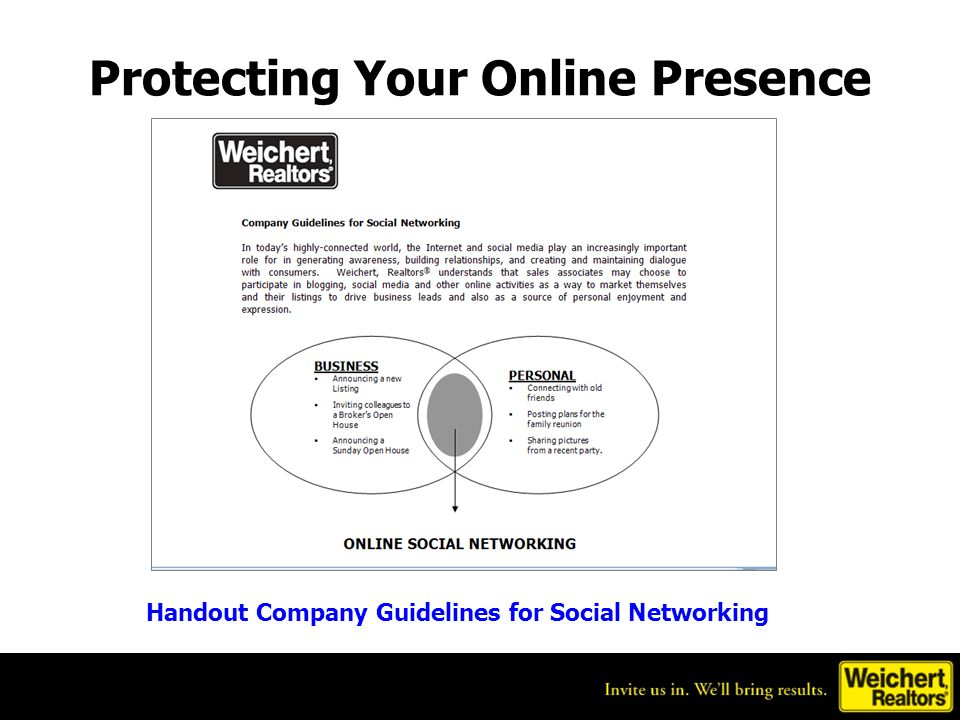 Protecting Your Online Presence Handout Company Guidelines for Social Networking