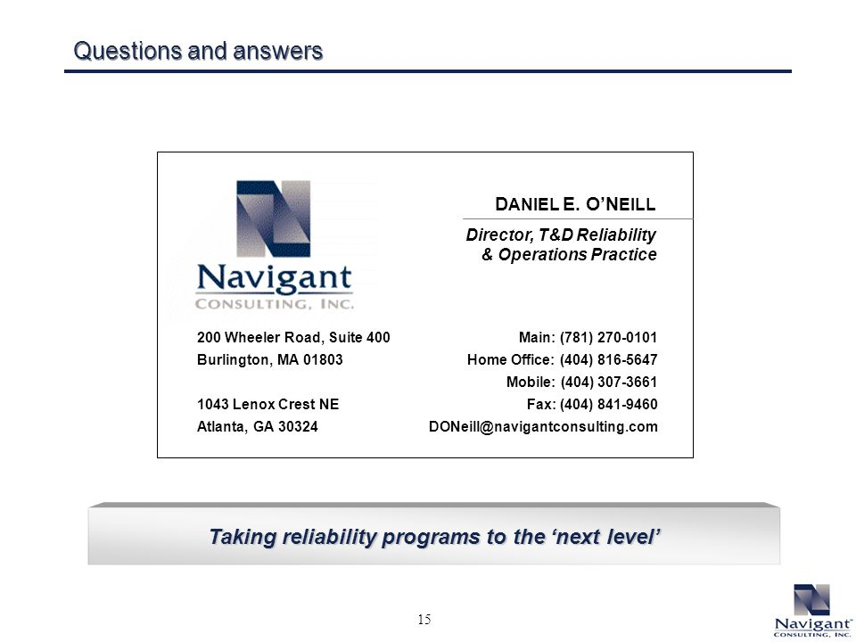 15 Taking reliability programs to the next level Questions and answers D ANIEL E.