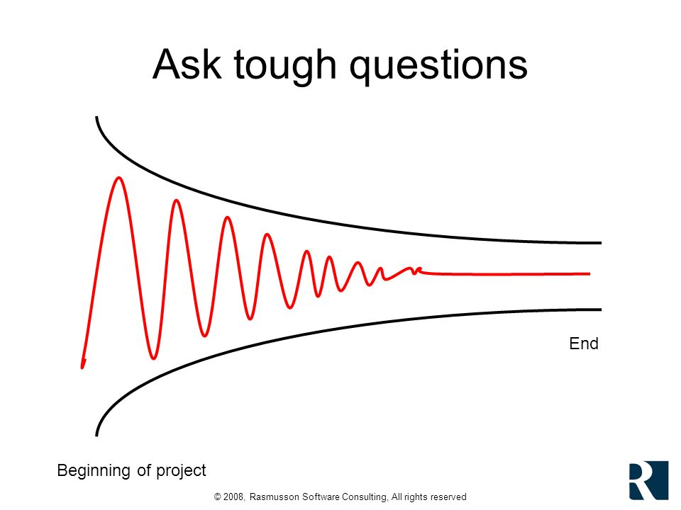 © 2008, Rasmusson Software Consulting, All rights reserved Ask tough questions Beginning of project End