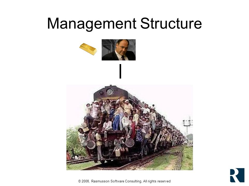 © 2008, Rasmusson Software Consulting, All rights reserved Management Structure