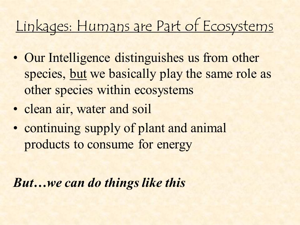 Linkages: Humans are Part of Ecosystems Our Intelligence distinguishes us from other species, but we basically play the same role as other species within ecosystems clean air, water and soil continuing supply of plant and animal products to consume for energy But…we can do things like this
