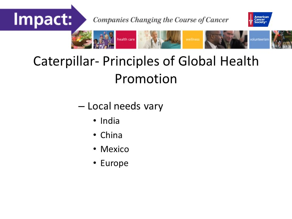 Caterpillar- Principles of Global Health Promotion – Local needs vary India China Mexico Europe