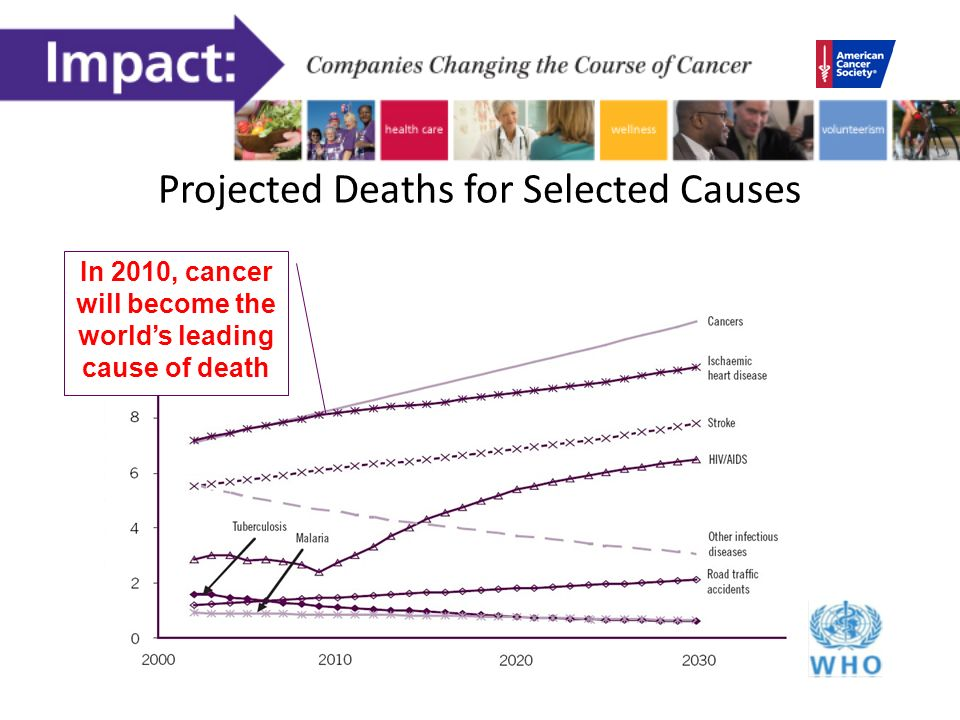 Projected Deaths for Selected Causes In 2010, cancer will become the worlds leading cause of death