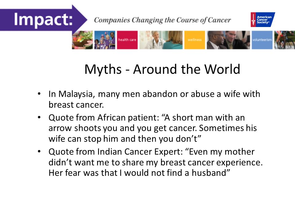 Myths - Around the World In Malaysia, many men abandon or abuse a wife with breast cancer.