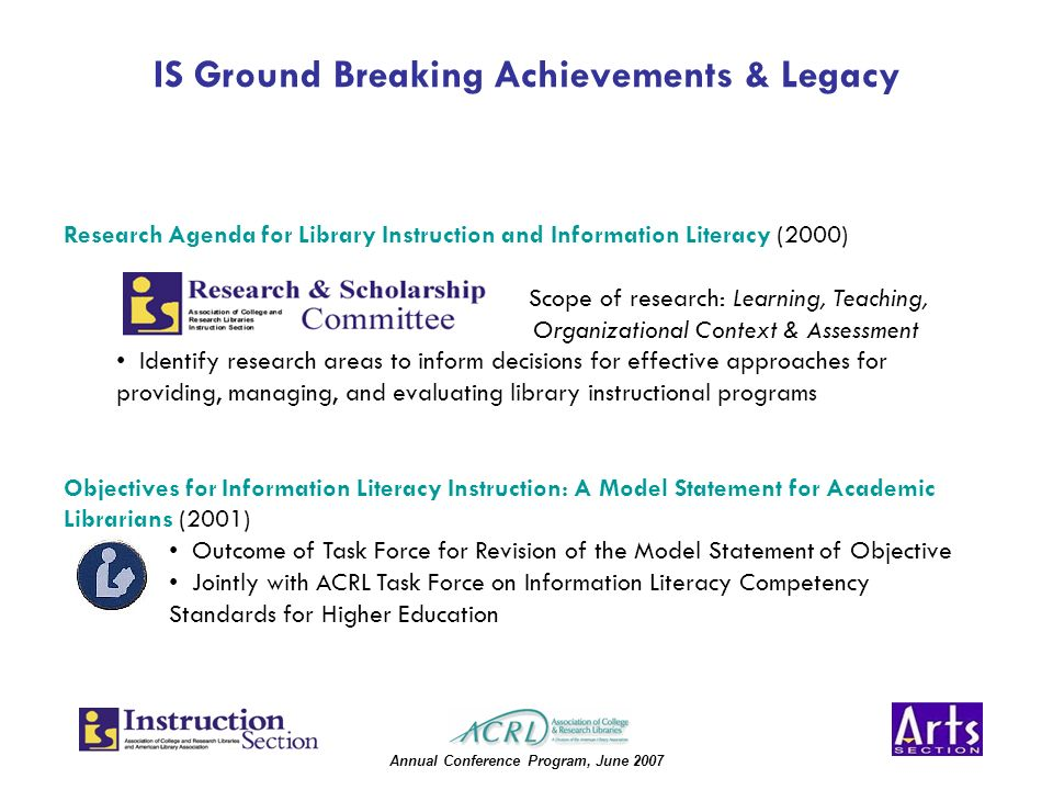Annual Conference Program, June 2007 IS Ground Breaking Achievements & Legacy Research Agenda for Library Instruction and Information Literacy (2000) Scope of research: Learning, Teaching, Organizational Context & Assessment Identify research areas to inform decisions for effective approaches for providing, managing, and evaluating library instructional programs Objectives for Information Literacy Instruction: A Model Statement for Academic Librarians (2001) Outcome of Task Force for Revision of the Model Statement of Objective Jointly with ACRL Task Force on Information Literacy Competency Standards for Higher Education