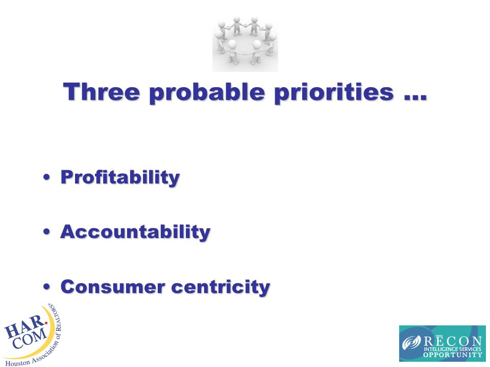 Three probable priorities … ProfitabilityProfitability AccountabilityAccountability Consumer centricityConsumer centricity