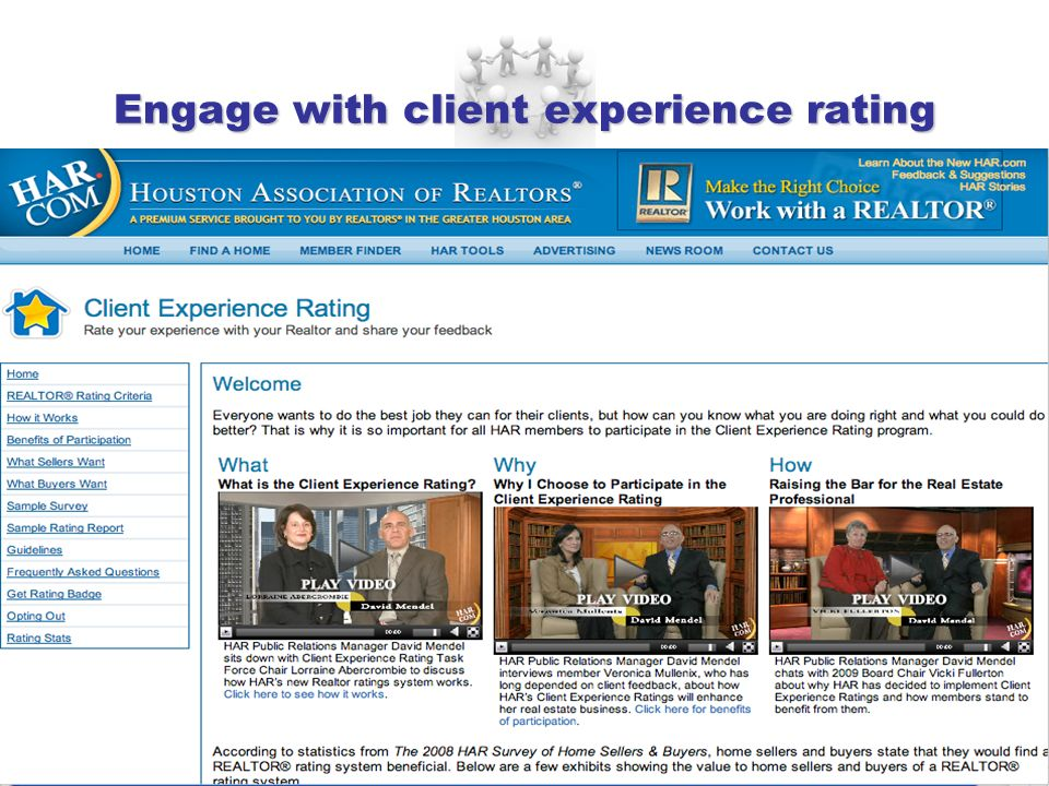 Engage with client experience rating