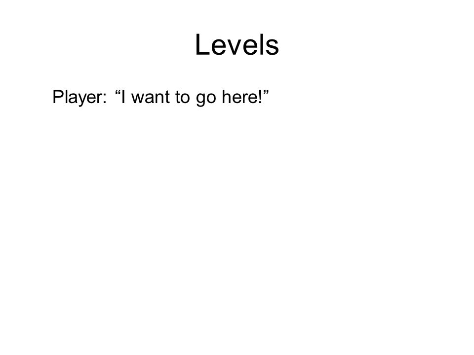 Levels Player: I want to go here!