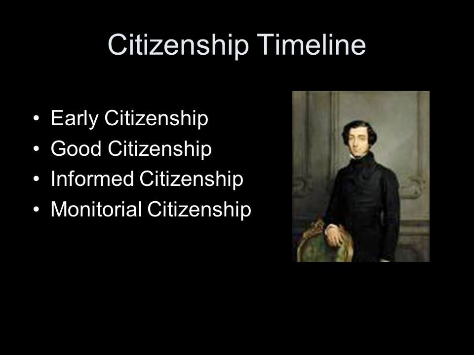Citizenship Timeline Early Citizenship Good Citizenship Informed Citizenship Monitorial Citizenship