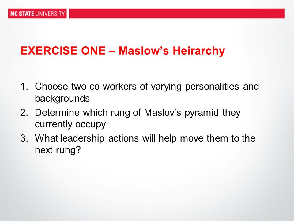 EXERCISE ONE – Maslows Heirarchy 1.Choose two co-workers of varying personalities and backgrounds 2.Determine which rung of Maslovs pyramid they currently occupy 3.What leadership actions will help move them to the next rung