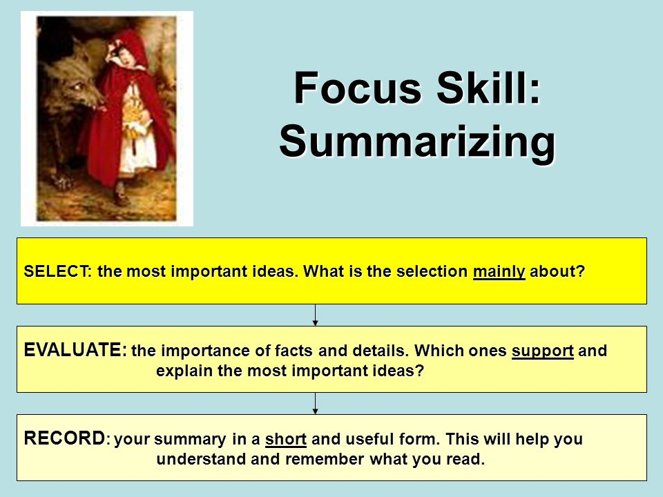 Focus Skill: Summarizing SELECT: the most important ideas.
