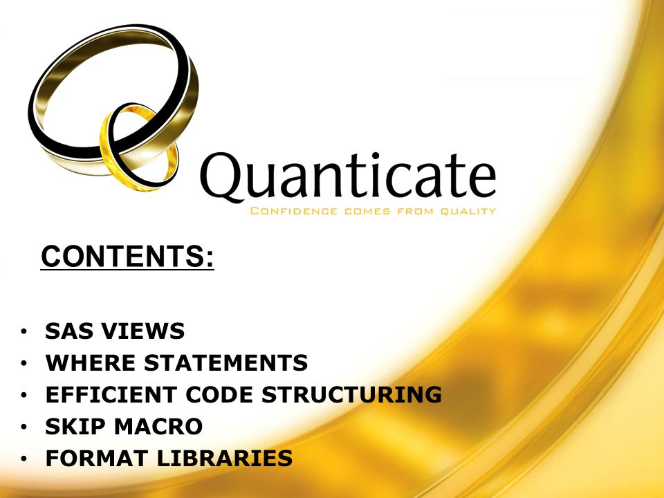SAS VIEWS WHERE STATEMENTS EFFICIENT CODE STRUCTURING SKIP MACRO FORMAT LIBRARIES CONTENTS: