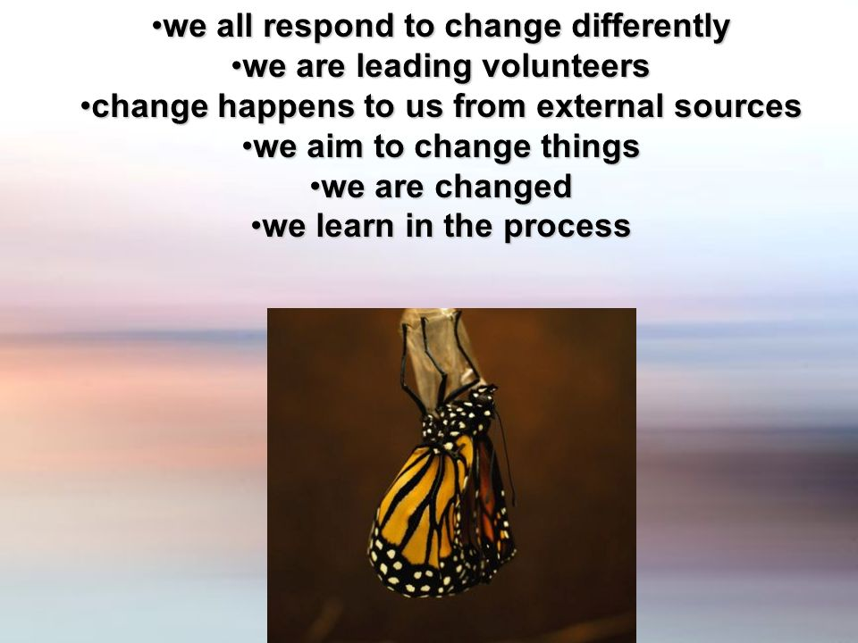 we all respond to change differentlywe all respond to change differently we are leading volunteerswe are leading volunteers change happens to us from external sourceschange happens to us from external sources we aim to change thingswe aim to change things we are changedwe are changed we learn in the processwe learn in the process