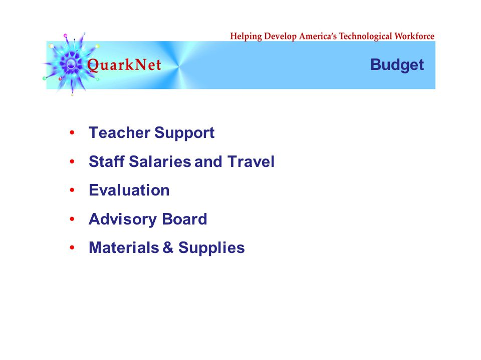 Budget Teacher Support Staff Salaries and Travel Evaluation Advisory Board Materials & Supplies