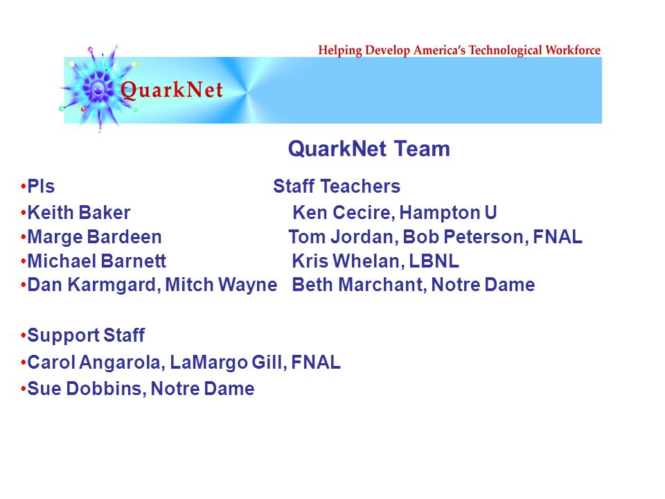 QuarkNet Team PIs Staff Teachers Keith Baker Ken Cecire, Hampton U Marge Bardeen Tom Jordan, Bob Peterson, FNAL Michael Barnett Kris Whelan, LBNL Dan Karmgard, Mitch Wayne Beth Marchant, Notre Dame Support Staff Carol Angarola, LaMargo Gill, FNAL Sue Dobbins, Notre Dame
