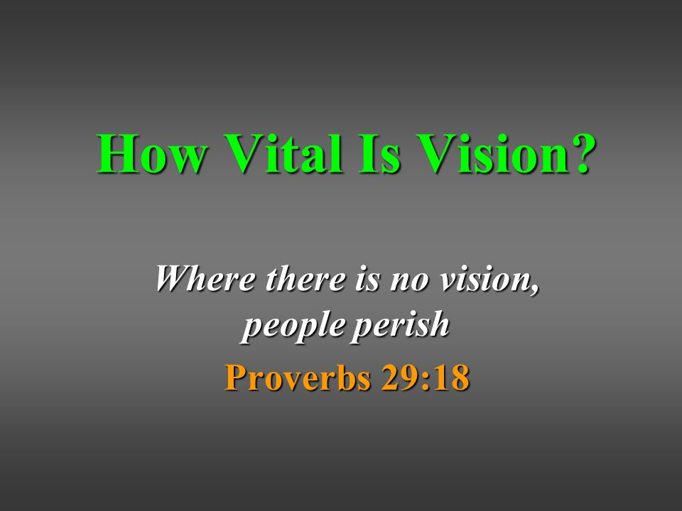How Vital Is Vision Where there is no vision, people perish Proverbs 29:18