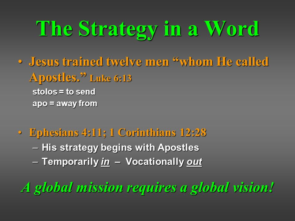 The Strategy in a Word Jesus trained twelve men whom He called Apostles.