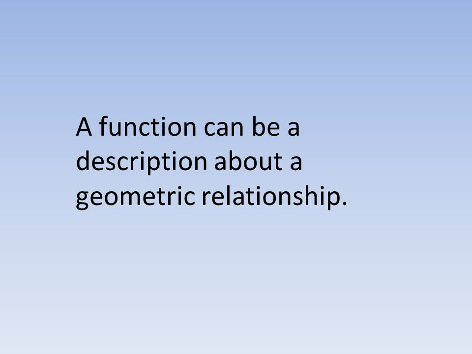 A function can be a description about a geometric relationship.