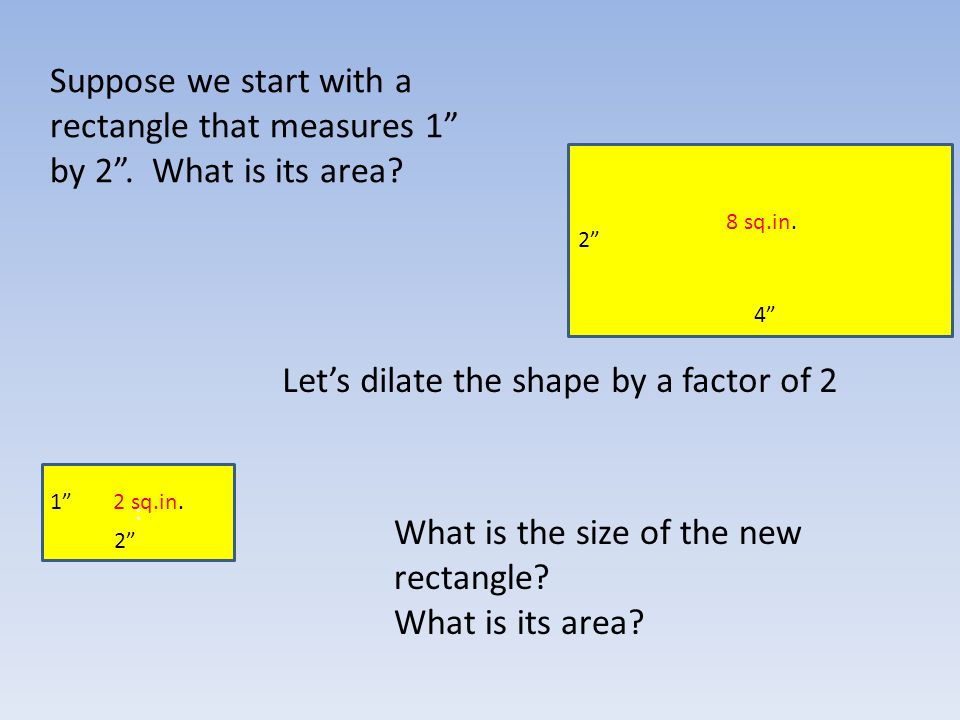 Suppose we start with a rectangle that measures 1 by 2.