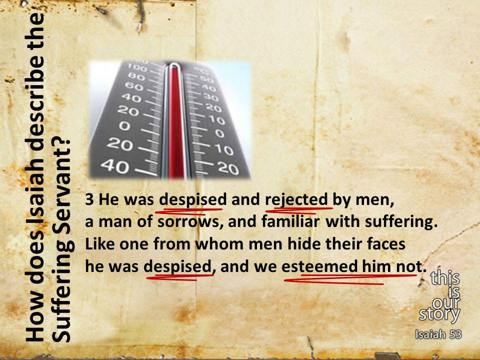 3 He was despised and rejected by men, a man of sorrows, and familiar with suffering.