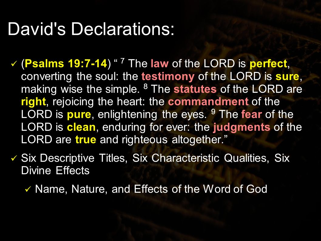 David s Declarations: (Psalms 19:7-14) 7 The law of the LORD is perfect, converting the soul: the testimony of the LORD is sure, making wise the simple.