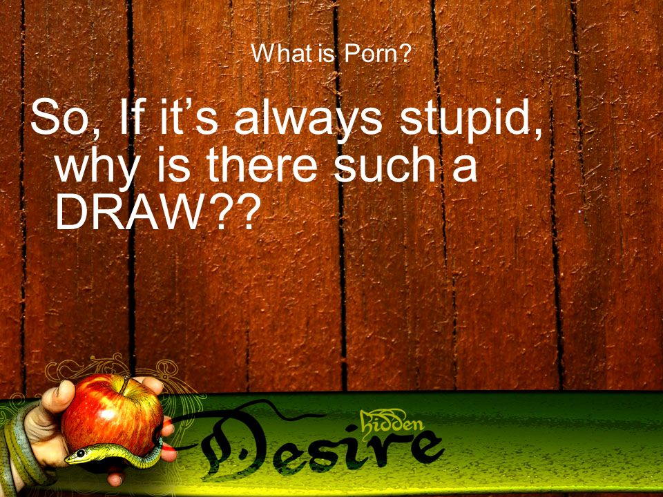 What is Porn So, If its always stupid, why is there such a DRAW