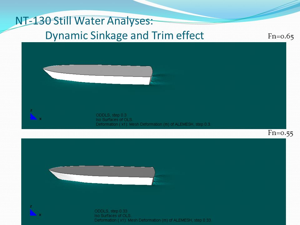 NT-130 Still Water Analyses: Dynamic Sinkage and Trim effect Fn=0.65 Fn=0.55