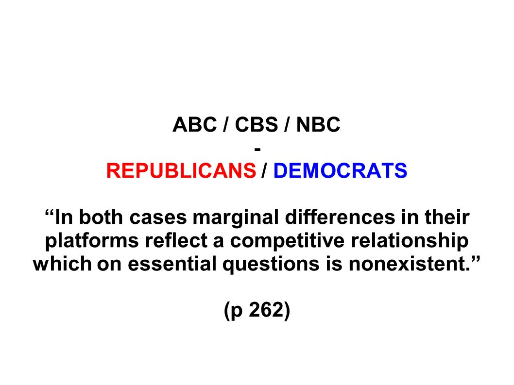 ABC / CBS / NBC - REPUBLICANS / DEMOCRATS In both cases marginal differences in their platforms reflect a competitive relationship which on essential questions is nonexistent.