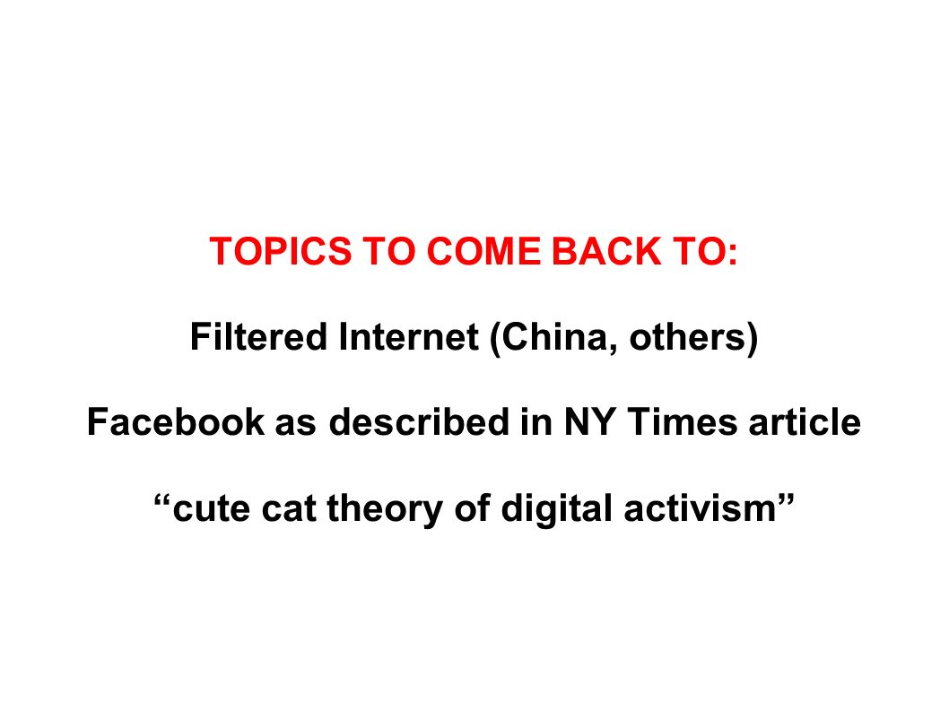 TOPICS TO COME BACK TO: Filtered Internet (China, others) Facebook as described in NY Times article cute cat theory of digital activism