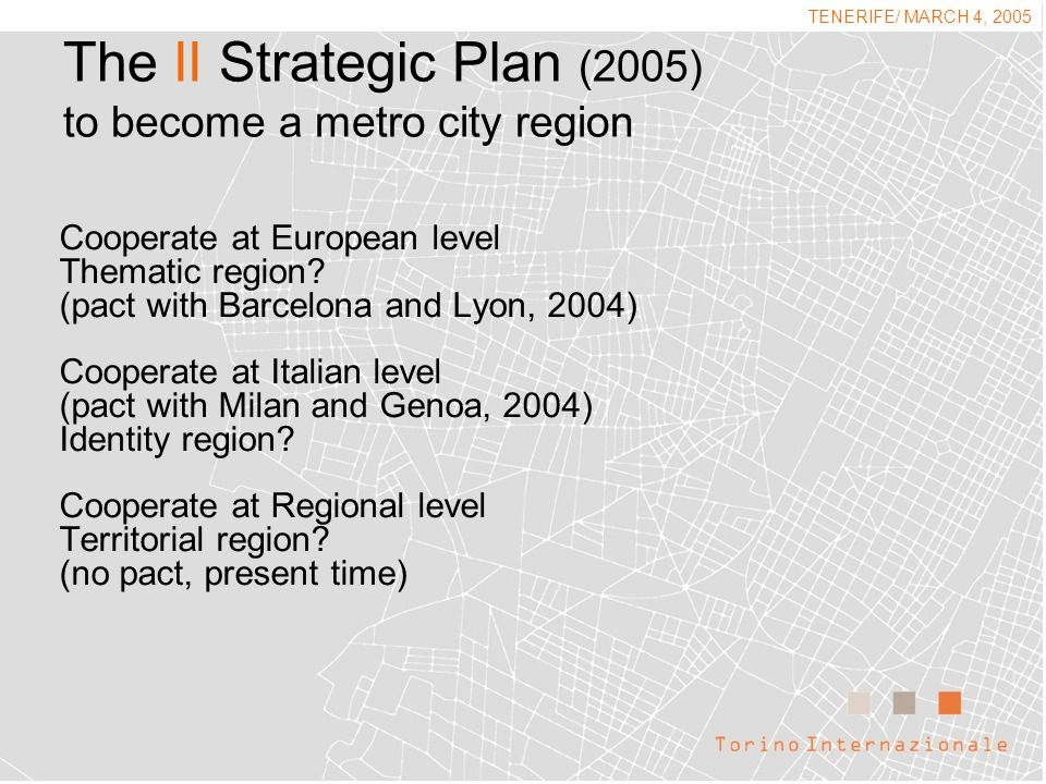 The II Strategic Plan (2005) to become a metro city region Cooperate at European level Thematic region.