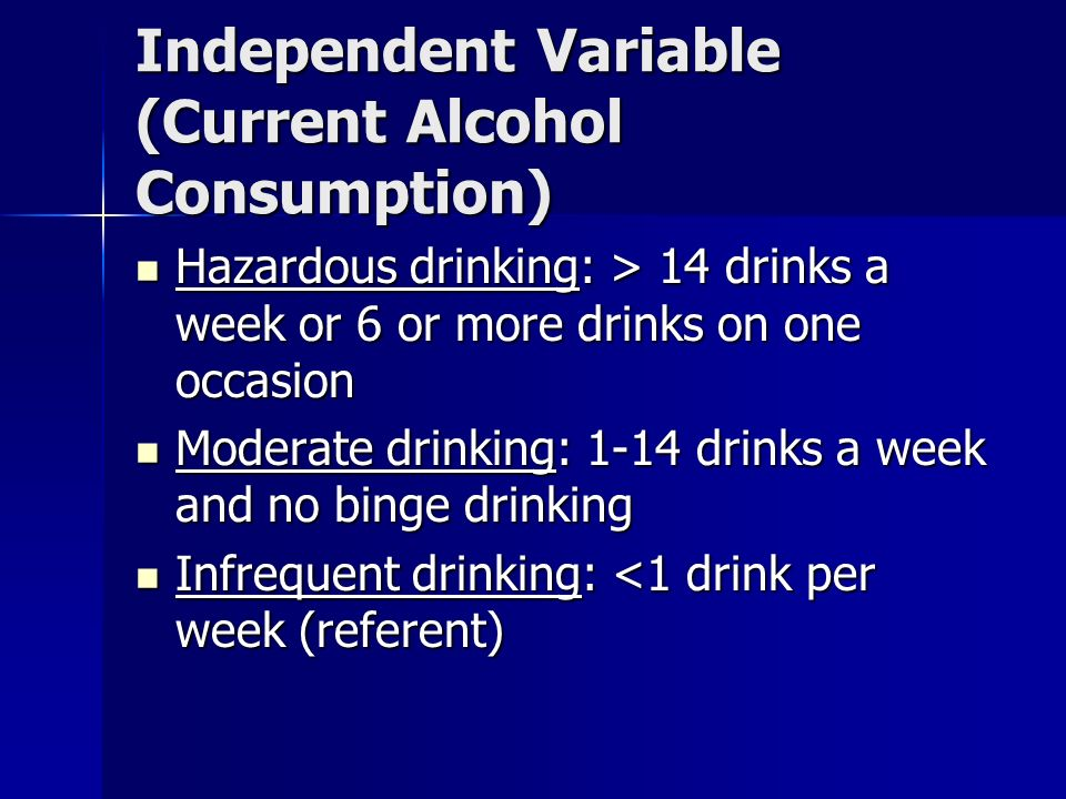 Independent Variable (Current Alcohol Consumption) Hazardous drinking: > 14 drinks a week or 6 or more drinks on one occasion Hazardous drinking: > 14 drinks a week or 6 or more drinks on one occasion Moderate drinking: 1-14 drinks a week and no binge drinking Moderate drinking: 1-14 drinks a week and no binge drinking Infrequent drinking: <1 drink per week (referent) Infrequent drinking: <1 drink per week (referent)